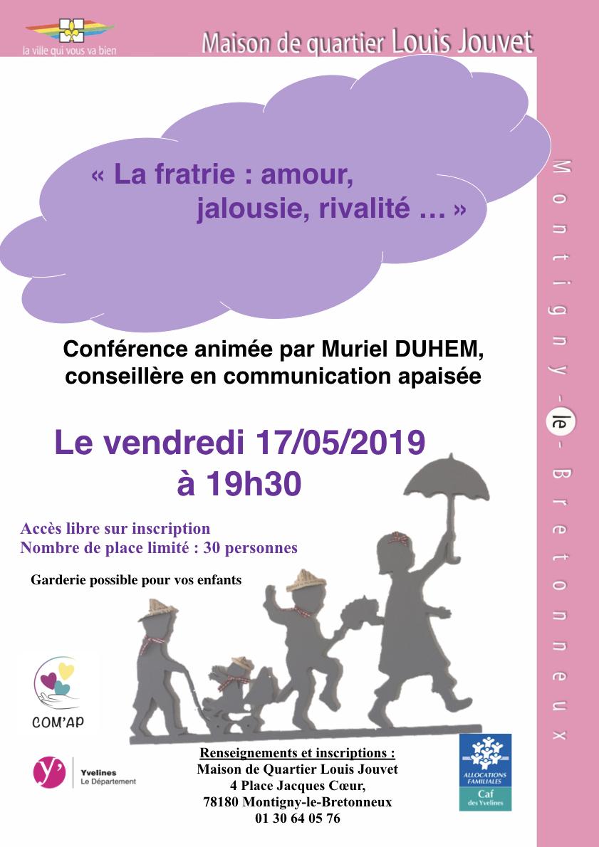 conférence Maison de quartier Montigny rivalité Frères Soeurs